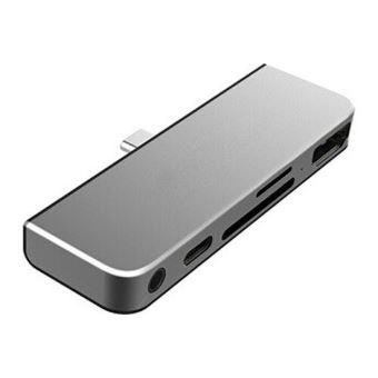 Adaptateur On Earz Mobile Gear Type-C Gris Sidéral avec chargement USB-C PD, HDMI 4K, Prise de Casque USB 3.0 & 3.5mm pour iPad Pro