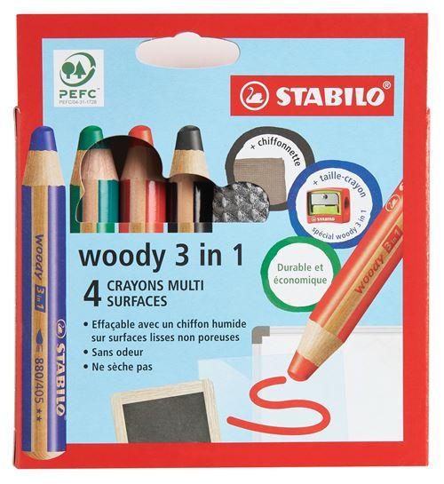 Etui 4 crayons Stabilo Woody avec taille crayon et chiffonnette