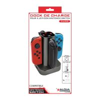 Base de charge Alpha Omega Players pour 4 Joy-Con Nintendo Switch Noir