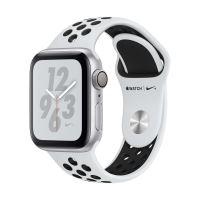Apple Watch Series 4 Nike+ 40 mm Kast van zilverkleurig aluminium, met platina/zwart sportbandje van Nike