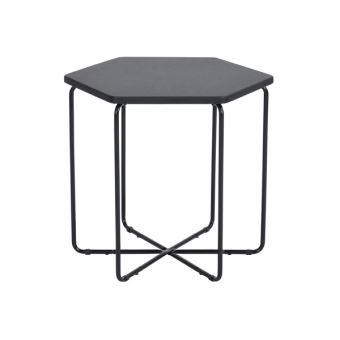 Urban Meuble Table Basse d'Appoint Bout canapé Hexagone Noir