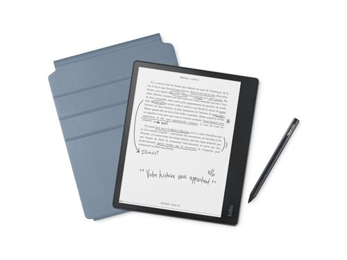 "Pack Liseuse numérique by Fnac Kobo Elipsa 10.3"" 32 Go Noir + Etui de protection Kobo SleepCover Bleu + Stylet Kobo Noir"