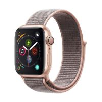 Apple Watch Series 4 40mm Kast van Goudkleurig Aluminium + Rozenkwarts Geweven Sportbandje