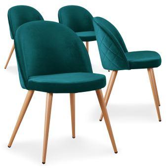Vert de Tartan 4 velours chaises scandinaves Achat Lot ZikPuX