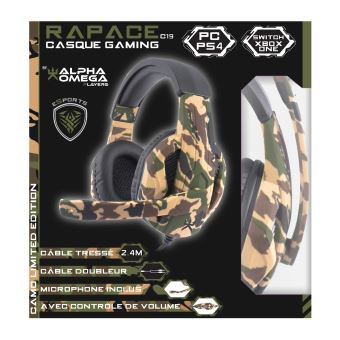 Casque Gaming Alpha Omega Players Rapace C19 pour PS4, Xbox One, PC Camo