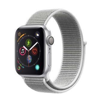 Apple Watch Series 4 40 mm Kast van Aluminium Zilver met Schelpenwit Geweven Sportbandje