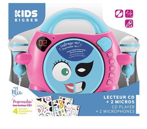3. Lecteur CD à personnaliser avec 2 micros et stickers BigBen Rose et Bleu  clair 6a744ea800bc