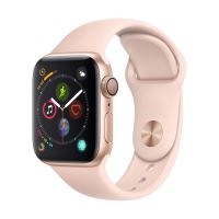 Apple Watch Series 4 40 mm Kast van goudkleurig aluminium, met rozenkwarts sportbandje
