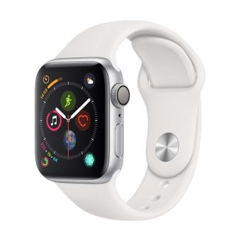 Apple Watch Series 4 40 mm Kast van zilverkleurig aluminium, met wit sportbandje