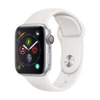 Apple Watch Series 4 40 mm Kast van zilverkleurig aluminium, met wit sportbandje