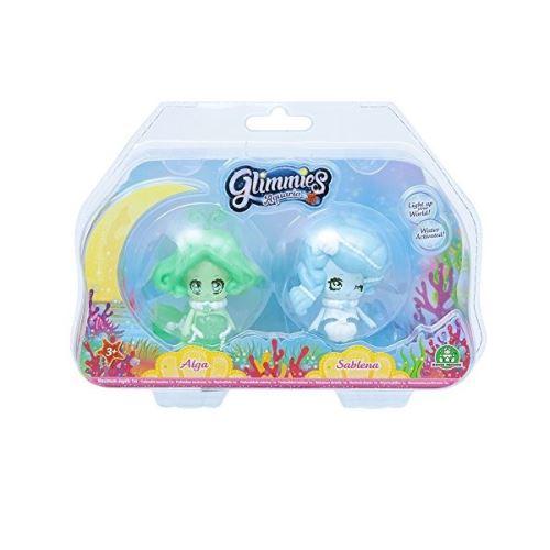 2 Figurines Glimmies Blister 2 Aquaria Alga et Sablena Vert et Bleu 6 cm