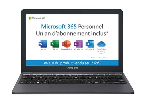 "PC Ultra-Portable Asus E203MA-FD100TS 11,6"" Intel Celeron 4 Go RAM 64 Go eMMC Gris"