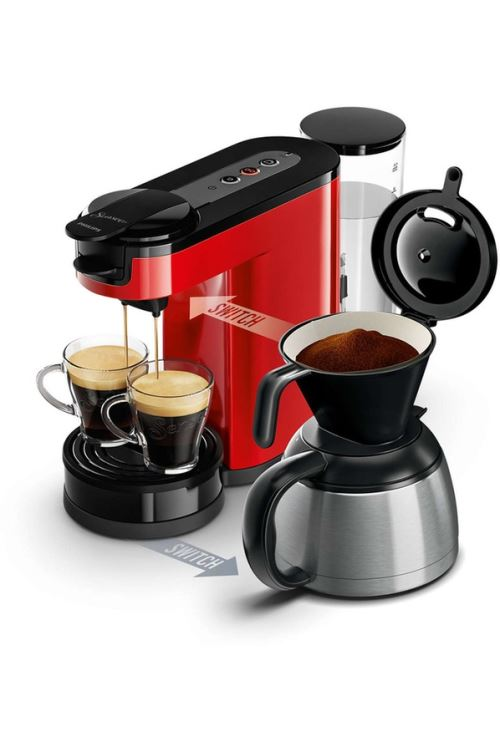 Machine à café à dosettes et filtre Philips Senseo® Switch HD7892/81 Rouge