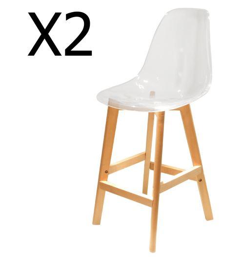 Lot de 2 chaises de bar en bois et Acrylique coloris transparent - Dim : H 109 x L 46.7 x P 48.5 cm - PEGANE -