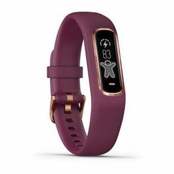 Bracelet connecté Garmin Vivosmart 4 Or Rose avec Bracelet Bordeaux Taille S/M
