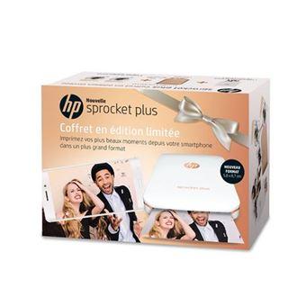 Pack Imprimante photo portable HP Sprocket Plus Blanc + Pochette + 2 paquets de papier photos HP Zinc 5.8 x 8.7 cm Edition Limitée