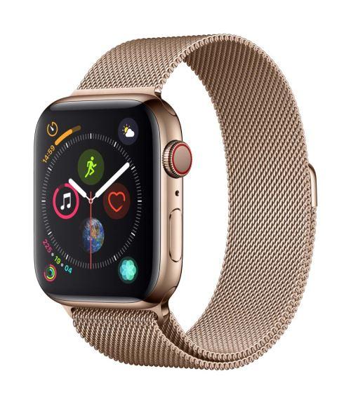 Fnac.com : Apple Watch Series 4 Cellular 44 mm Boîtier en Acier inoxydable Or avec Bracelet Milanais Or - Montre connectée.