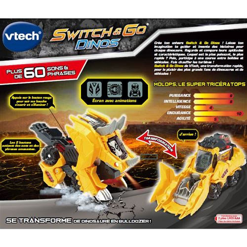 Switch Go Véhicule Tricératops Dinos Vtech Molops Transformable Interactif Et Super rQtsdCh