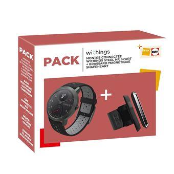 Pack Montre connectée hybride Withings Steel HR Sport 40 mm + Brassard magnétique Shapeheart Noir