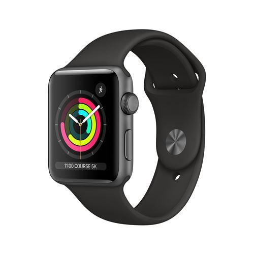 Fnac.com : Apple Watch Series 3 42 mm Boîtier en Aluminium Gris sidéral avec Bracelet Sport Noir - Montre connectée.