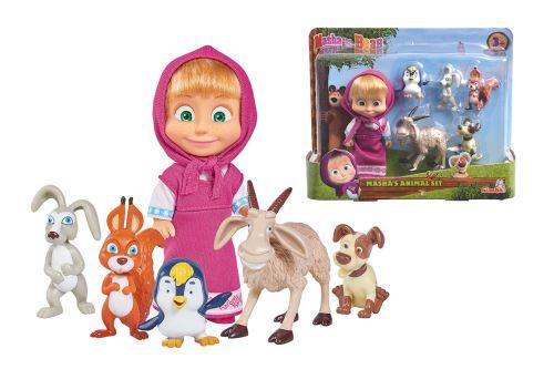 Mini poupée Simba Masha 12 cm et ses 5 amis animaux