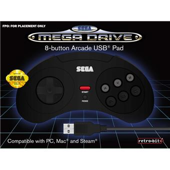 Manette Retro-bit Sega Megadrive 8 Noir