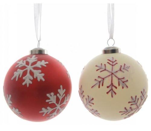 Boule de Noël en verre Kaemingk 8 cm Flocons de neige