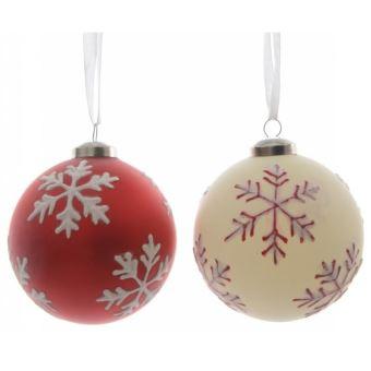 Boule de Noël en verre Kaemingk 8 cm Flocons de neige   Décoration