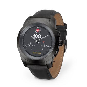 MyKronoz ZeTime Verbonden Horloge (39mm) Premium Titanium en Leren Armband Glad Zwart