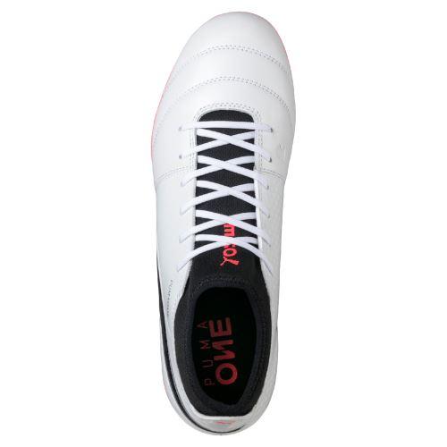 Chaussures de football Puma One 17.3 FG Blanches, noires et rouges Taille 46