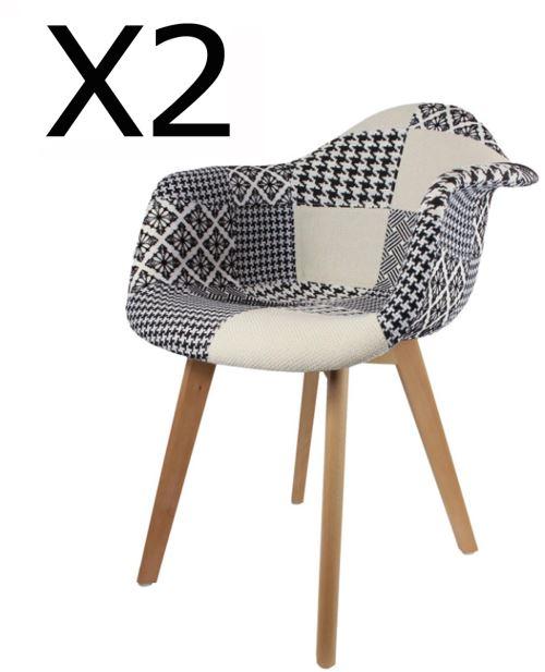 Lot de 2 fauteuils en bois coloris Blanc et Noir - Dim : H 86 x L 62 x P 60.5 cm - PEGANE -