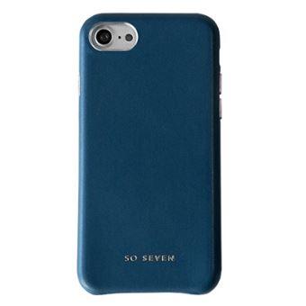 So Seven Premium Case Namaak Leer Marine Blauw iPhone 7/8