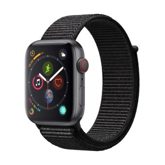 Apple Watch Series 4 Cellular 44 mm Boîtier en Aluminium Gris sidéral avec Boucle Sport noir