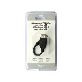 Adaptateur Temium USB OTG B vers USB OTG A 10 cm