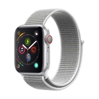 Apple Watch Series 4 Cellular 44 mm Boîtier en Aluminium Argent avec Boucle Sport Coquillage