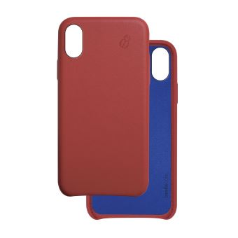 coque iphone x rouge cuir