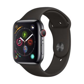 Apple Watch Series 4 Cellular 44 mm Boîtier en Aluminium Gris sidéral avec Bracelet Sport noir