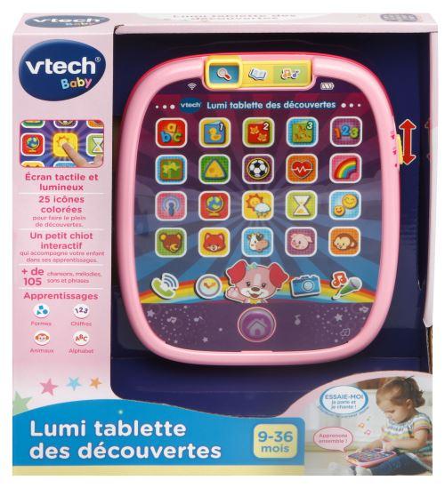 La première tablette de Bébé pour jouer à imiter Papa et Maman. 25 touches tactiles dont 20 lumineuses pour faire le plein de découvertes : les chiffres de 1 à 10, les formes, l'alphabet en chanson, les animaux, découvrir le temps qu'il fait, écouter son