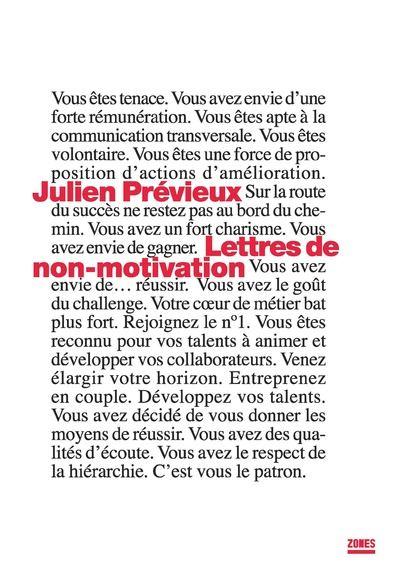 Lettres de non motivation
