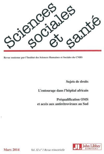 Revue sciences sociales et santé - Vol 32 - N°1/ mars 2014