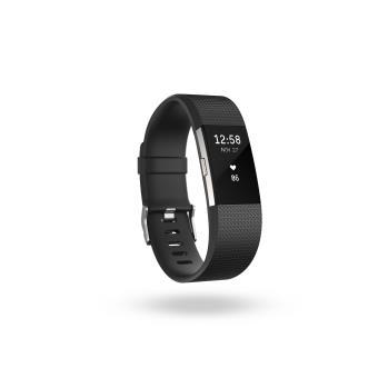 Life Coach Fitbit Charge 2 Zwart/Zilver - Maat S