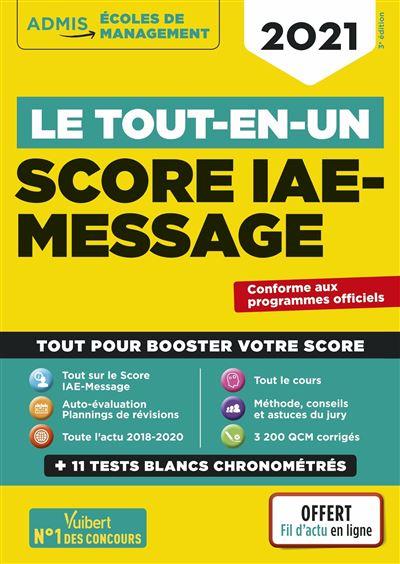 Le tout-en-un Score IAE-MESSAGE 2021