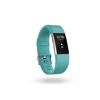 Coach de vie Fitbit Charge 2 Bleu Vert et Argent Taille L