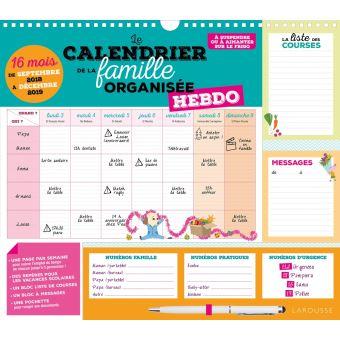 Le calendrier de la famille organisée hebdo 2019
