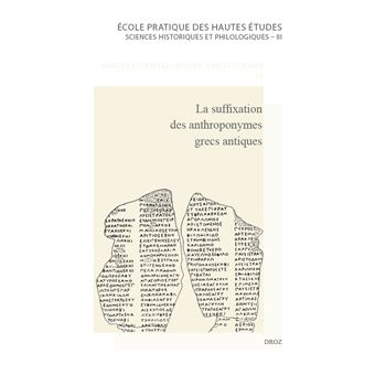 La suffixation des anthroponymes grecs antiques