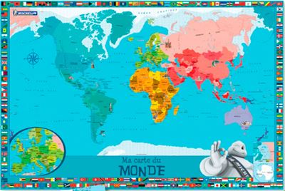 Carte Du Monde Plastifiee.Ma Carte Du Monde Poster Michelin Avec Une Planche De Stickers