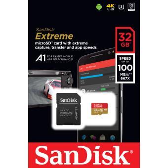 Carte Mémoire Sandisk Extreme PLUS MicroSDHC 32Go 95Mo/seconde UHS-I avec adaptateur SD