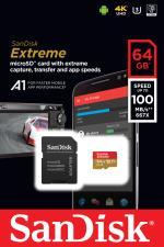 Carte Mémoire Sandisk Extreme PLUS MicroSDXC 64Go 95Mo/seconde UHS-I avec adaptateur SD