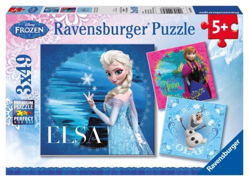 Puzzles 3 x 49 pièces Ravensburger Elsa Anna et Olaf Disney Frozen La Reine des Neiges