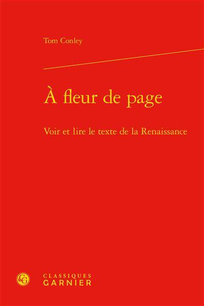 À fleur de page - voir et lire le texte de la renaissance